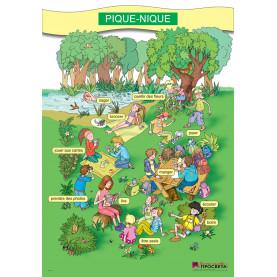 """Двустранно картинно табло """"PIQUE-NIQUE"""" и """"MA JOURNEE"""" по френски език за 3. и 4. клас"""
